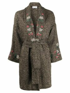 Red Valentino RED(V) herringbone embroidered coat - Brown