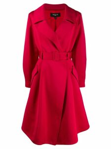 Paule Ka belted satin trench coat - Red