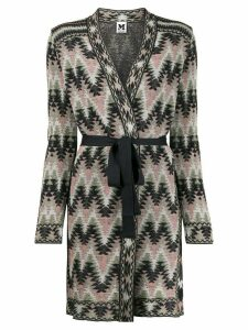 M Missoni belted Navajo-style knitted coat - Pink