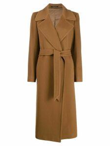 Tagliatore tie-waist long coat - Brown