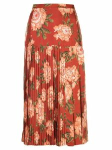 Salvatore Ferragamo peonies print pleated silk skirt - ORANGE