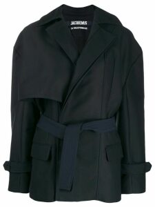 Jacquemus asymmetric short coat - Blue