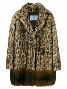 Prada leopard print single-breasted coat - Black