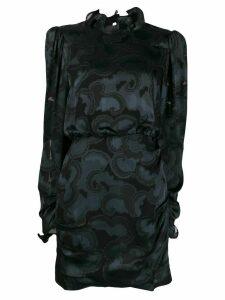 Saloni ruffle neck dress - Black