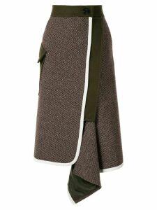 Sacai asymmetric draped midi skirt - Brown