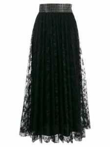 Christopher Kane crystal lace pleated skirt - Black