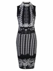 Fuzzi Greek print midi dress - Black