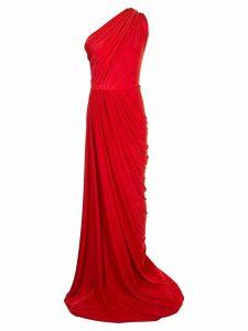 Rhea Costa asymmetric draped gown - Red