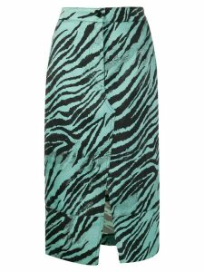 Brognano tiger print pencil skirt - Blue