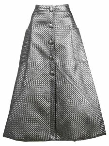 Christian Siriano metallic sheen midi skirt - Silver