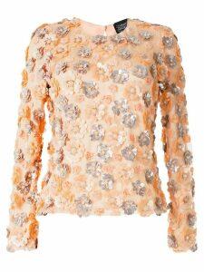 Alison Brett flower-embellished round-neck top - PINK