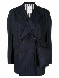 Ujoh double-breast pin-stripe blazer - Blue