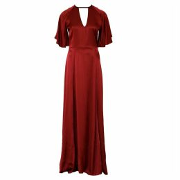 Anna Etter - Maxi Wine Viscose Red Dress Cherie With An Open Back