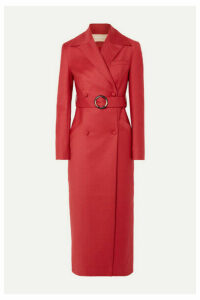 MATÉRIEL - Belted Double-breasted Wool-blend Coat - Red
