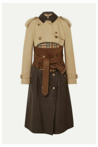 Burberry - Paneled Leather, Cotton-gabardine And Canvas Trench Coat - Beige