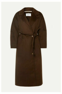 Nanushka - Loane Oversized Belted Wool And Silk-blend Coat - Dark brown