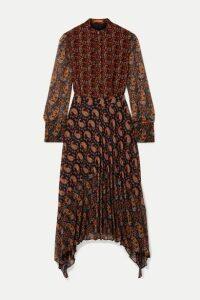 Altuzarra - Lakshmi Pleated Paisley-print Chiffon Midi Dress - Black
