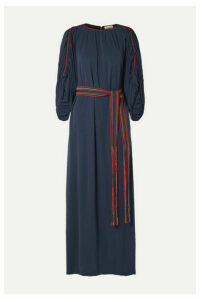 Tory Burch - Belted Gathered Jersey Maxi Dress - Navy