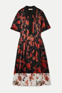 Tory Burch - Pleated Fil Coupé Satin Midi Dress - Black