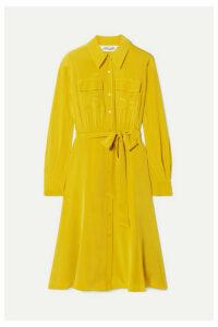 Diane von Furstenberg - Antonette Belted Silk Crepe De Chine Dress - Marigold