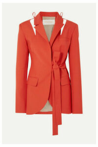 MATÉRIEL - Cutout Belted Wool-blend Blazer - Red