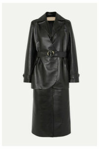 MATERIEL - Belted Layered Faux Leather Trench Coat - Black