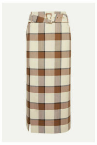STAUD - Simone Belted Checked Wool-blend Piqué Midi Skirt - Brown