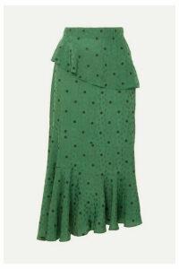 ALEXACHUNG - Ossie Tiered Floral-jacquard Peplum Midi Skirt - Dark green