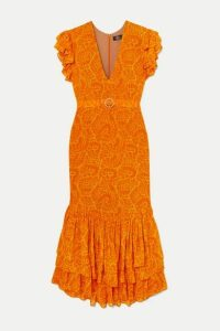 De La Vali - Apolonia Ruffled Crystal-embellished Printed Georgette Maxi Dress - Orange
