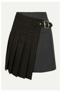 McQ Alexander McQueen - Asymmetric Pinstriped Grain De Poudre And Wool Skirt - Black