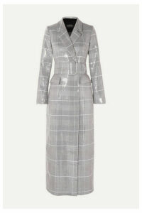 RASARIO - Sequined Checked Double-breasted Tweed Coat - Gray