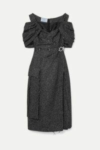 Prada - Off-the-shoulder Ruched Embellished Wool-blend Tweed Midi Dress - Gray