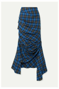 A.W.A.K.E. MODE - Gathered Checked Twill Midi Skirt - Cobalt blue