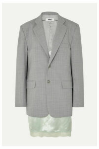 MM6 Maison Margiela - Layered Lace-trimmed Satin And Woven Blazer - Gray