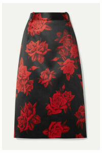 Commission - Kick Back Cabin Floral-print Satin Skirt - Red