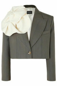 Magda Butrym - Chelsea Cropped Pinstriped Wool Blazer - Gray