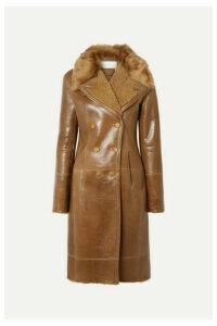 Chloé - Double-breasted Glossed-shearling Coat - Brown