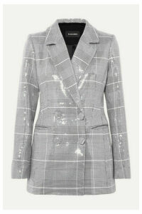 RASARIO - Double-breasted Checked Sequined Tweed Blazer - Gray