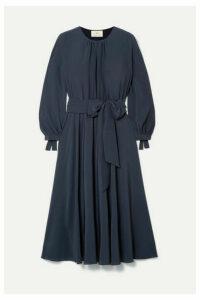 ARoss Girl x Soler - Amanda Belted Gathered Silk Crepe Midi Dress - Navy