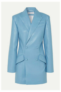 Aleksandre Akhalkatsishvili - Double-breasted Cutout Faux Leather Blazer - Sky blue