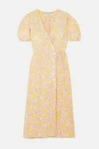 Faithfull The Brand - Fran Floral-print Crepe Midi Wrap Dress - Pastel yellow