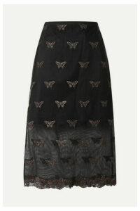 Fleur du Mal - Metallic Embroidered Cotton-blend Tulle Midi Skirt - Black