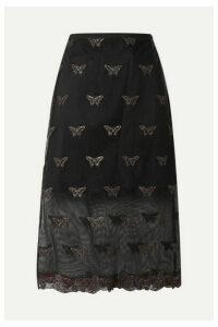 Fleur du Mal - Metallic Embroidered Cotton-blend Tulle Midi Skirt - Black