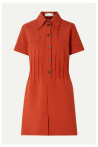 Victoria, Victoria Beckham - Pintucked Crepe Mini Dress - Tan