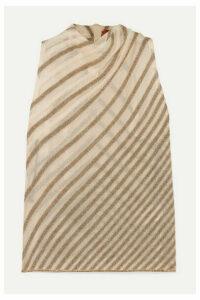 Missoni - Draped Striped Metallic Crochet-knit Top - Ivory
