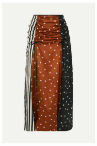 Lee Mathews - Mae Ruched Paneled Printed Silk-satin Midi Skirt - Brown