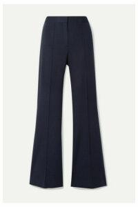 Victoria, Victoria Beckham - Pleated Jersey Flared Pants - Midnight blue