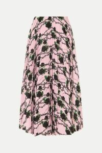 Valentino - + Undercover Pleated Printed Silk Crepe De Chine Midi Skirt - Pink