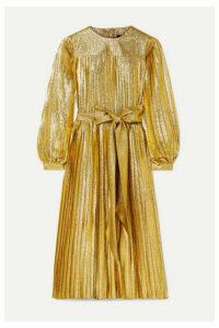 Marc Jacobs - Pleated Metallic Silk-blend Midi Dress - Gold