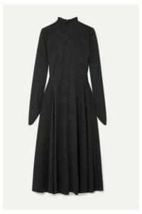 Marc Jacobs - Glittered Polka-dot Stretch-jersey Midi Dress - Black